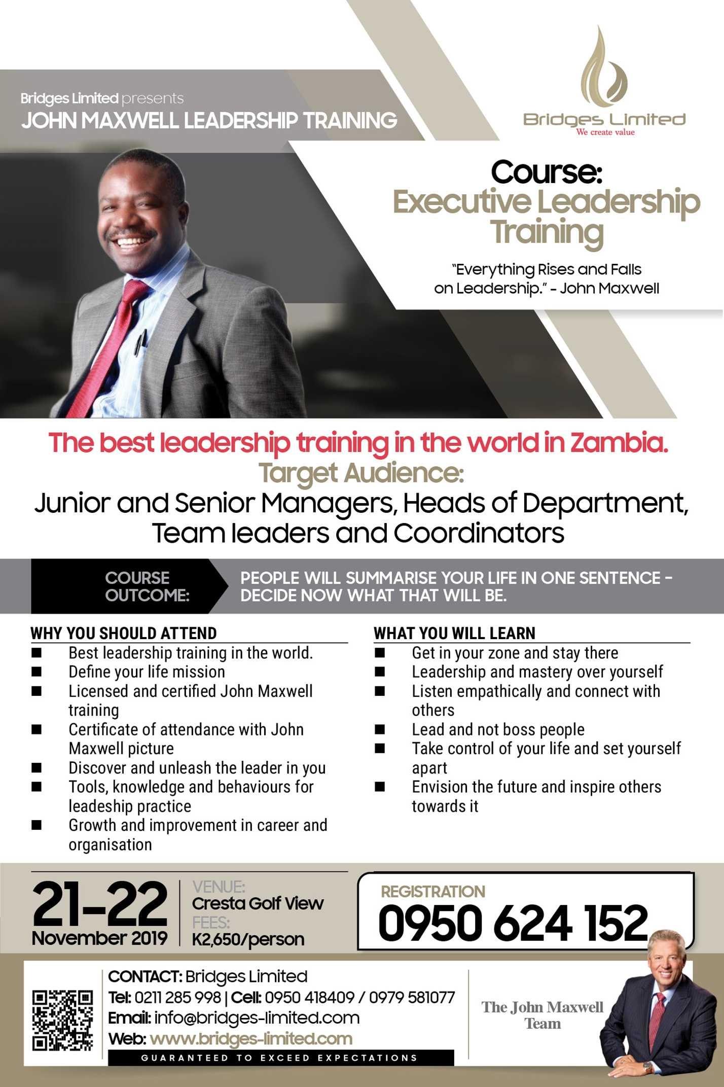 John Maxwell Leadership Training – 20th to 22nd November 2019